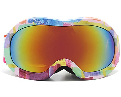 (BeBeFun Ski Goggles Glasses for Toddler and Kids with Double Lens Anti-fog for Girl Pink and Boy Age 3-9 fit Over Glasses and Helmet (Pudding))