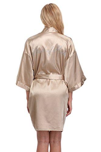 KimonoArt Satin Rhinestone Short Kimono Robe For Maid Of Honor Champagne M