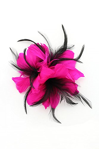 [Victorian Bridal Feather Flower Moulin Rouge Hair Clip & Pin (Fuchsia)] (Pink Moulin Rouge Costumes)