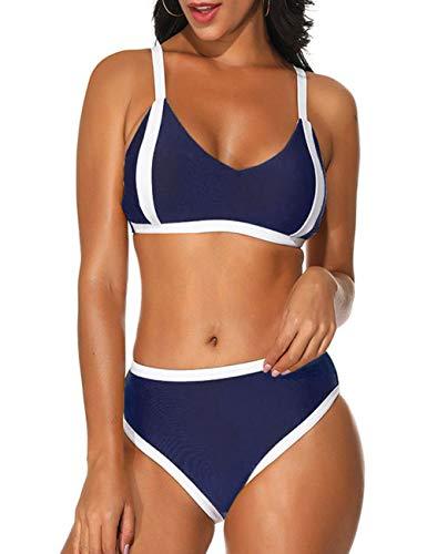 JOYMODE 2PCS Bikini Push Up Pad Swimsuit Tie Back Color Block Swimwear (Navy Blue, US 8-10=M)