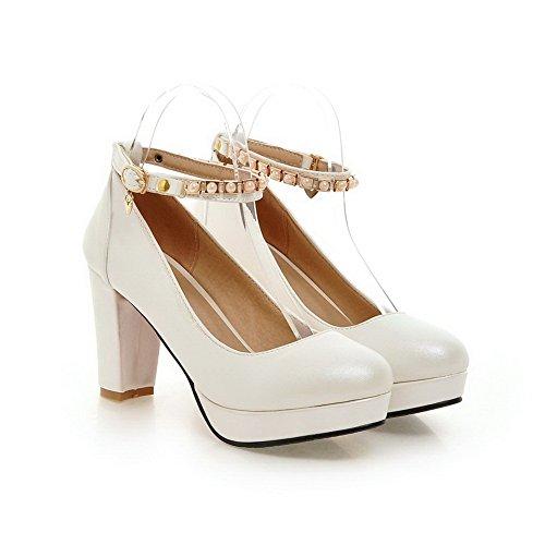 Balamasa Dames Kraal Metaal Ornament Dikke Hak Nagebootst Leren Pumps-schoenen Wit
