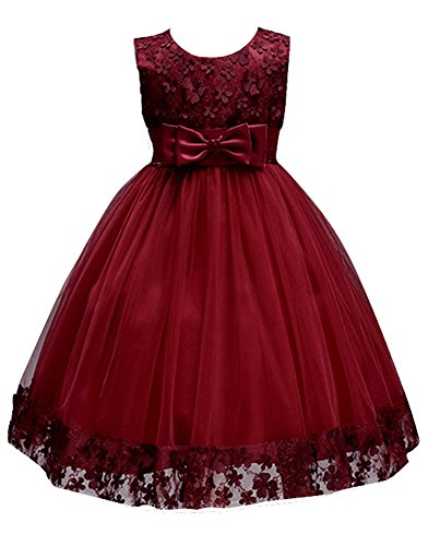 Big Girls First Communion Lace Dresses for Toddler Pageant Baby Sleeveless Flower Girl Dress Christmas Ball Gown for Weddings Sundress A Line Tank Vintage Pleated Skirt Knee Kids Tutu (Burgundy, 10) Christmas Ball Gowns