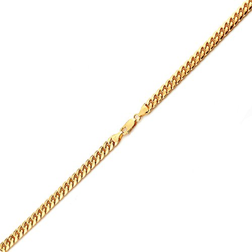 LoveBling 10K Yellow Gold 3.5mm 8'' Solid Miami Cuban Link Chain Bracelet with Lobster Lock by LOVEBLING (Image #2)