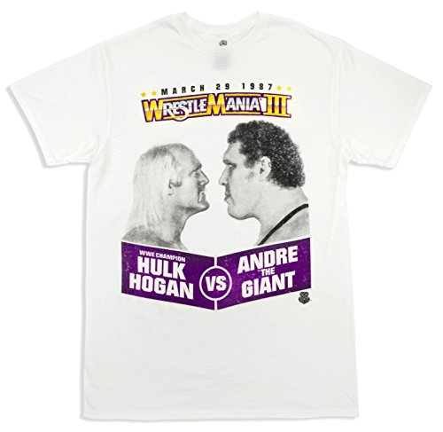 WWE World Wrestling Entertainment Wrestlemania Hulk Hogan Vs Andre the Giant White T-shirt (Adult Large) by WWE
