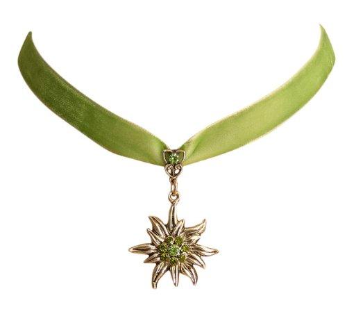 Trachtenschmuck Dirndl Edelweiss Kropfband aus Samt - grün / hellgrün - Peridot und Olivine Strasskristalle
