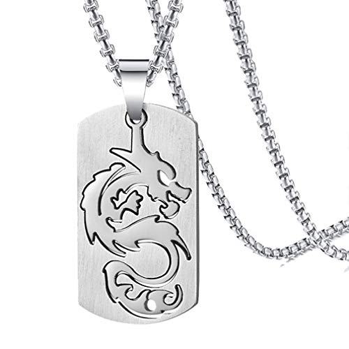 Tag Pendant Mens Dog - Xusamss Hip Hop Titanium Steel Dragon Dog Tag Pendant Necklace,24