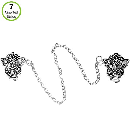 Evelots Sweater Collar Shawl Blouse Clip, Silver Butterfly-7 Assorted Styles