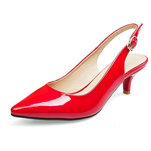 AllhqFashion Mujeres Tacón de aguja Sólido Hebilla Puntera Cerrada Sandalia Rojo