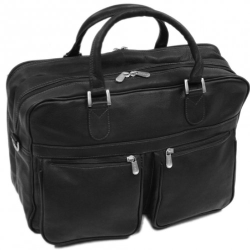 Piel Leather Checkpoint Friendly Brief Overnighter, Black, One Size (Leather Travel Computer Brief)