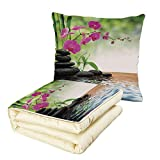 iPrint Quilt Dual-Use Pillow Spa Decor Composition Bamboo Tree Floor Mat Orchid Stones Wellbeing Greenery Multifunctional Air-Conditioning Quilt