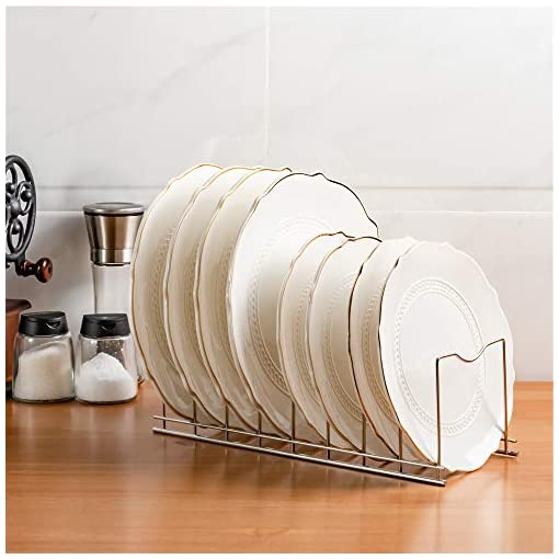 Kitchen SANNO Pan and Pot Lid Organizer Holder Rack Diversified Euro Kitchen Organizer for Plates, Cutting Boards Bakeware… pot lid holders