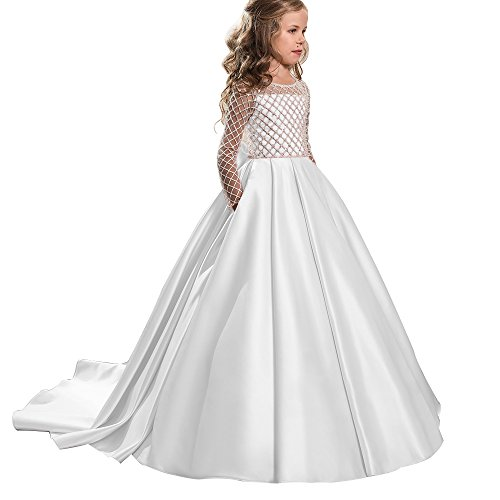Princess Flower Girl Dresses Lace Long Sleeve Satin Kids Puffy Ball Gown Size 12 White