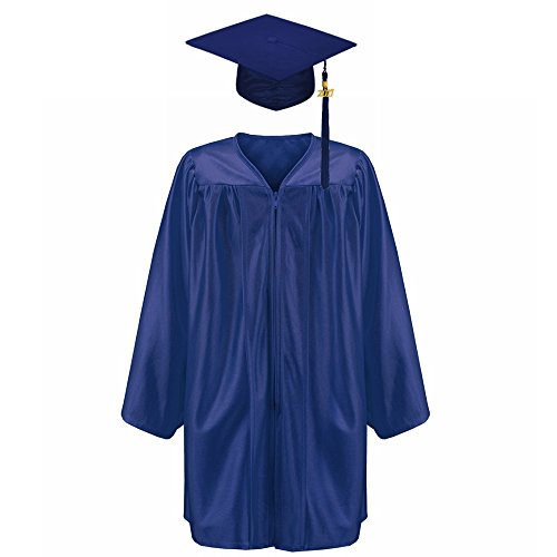 Annhiengrad Unisex Shiny Kindergarten Graduation Gown Cap Tassel 2018&2019 Package, Navy,S -
