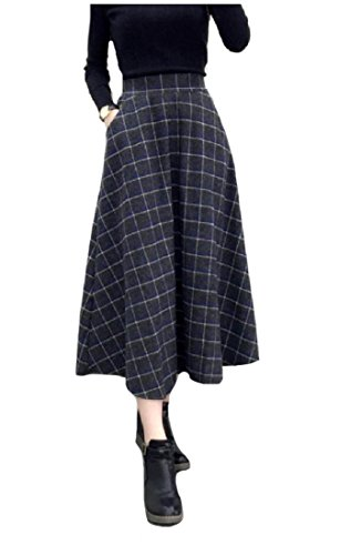 ANDYOU Women Classy High-waisted Woolen Plaid Full Circle Party Skirt Grey L -
