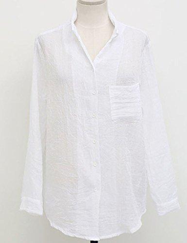 Verano Mujeres Camisa Blusa Ocasional Suelto Monocromo Manga Larga Respirable Cómodo Moda Top T Shirt Blanco