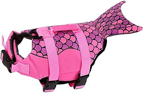 Giubbotti di salvataggio per cani, cintura regolabile Giubbotti di salvataggio per animali domestici Stile pesce Galleggiante Salvaspazio Salvagente da bagno di sicurezza con strisce riflettenti