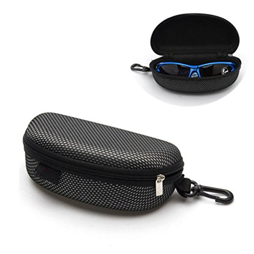 Coohole Portable Zipper Eye Glasses Sunglasses Clam Shell Hard Case Protector Box, Black