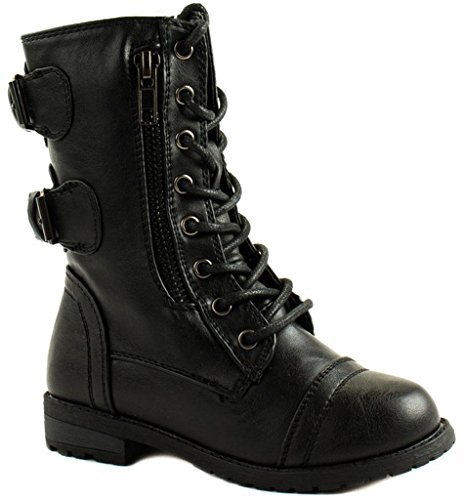 Forever Link Girls Mango 61K Lace Up Boots Combat Boots for Girls Zipper Boots Toddler Girl Shoes Black, 4 Big Kid ()