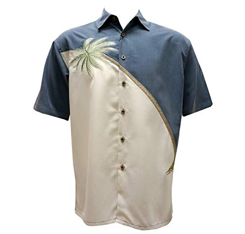 Bamboo Cay Men's Casual Hawaiian Palm Tree Embroidered Button Down Shirt (2XL, Blue)