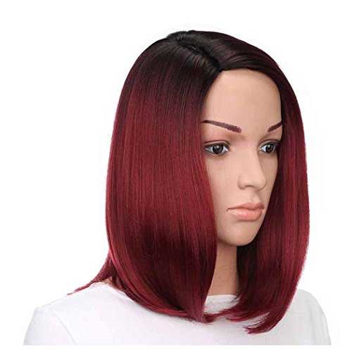 Inkach Womens Short Wigs, Stylish Girls Hair Lace Front Straight Wig Heat Synthetic Bob Full Wigs]()