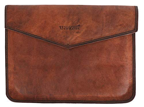 (WerKens Genuine Leather Laptop Sleeve a Luxury Laptop Sleeve Cover Case for MacBook and Laptops with Display Sizes 13-14