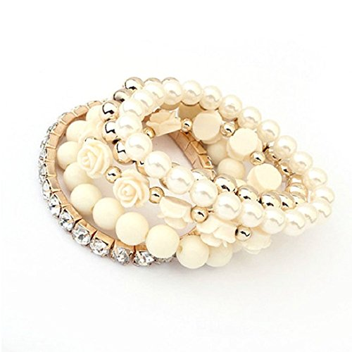 Price comparison product image Doinshop 1 Set Acrylic Rose Flower Round Pearl Shining Rhinestone Crystal Elastic Bracelet (rice)