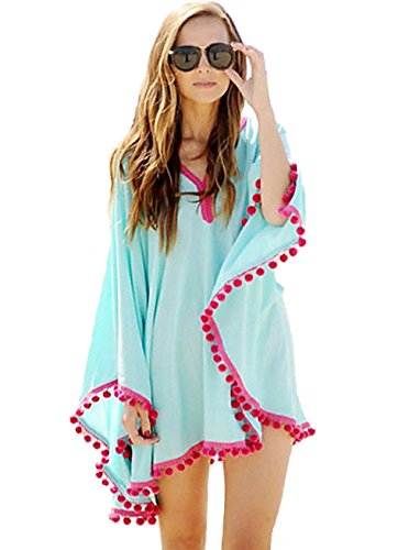 dear-lover Women's Pom Pom Trim Chiffon Beach (Normandy Shower Kit)