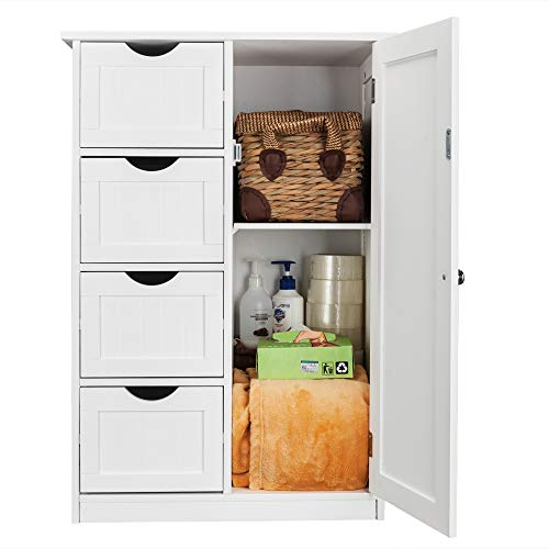 Bonnlo Small Bathroom Floor Cabinet Free Standing Waterproof Wooden Side Storage Organizer with 4 Drawer and 1 Cupboard Homes Furniture, White