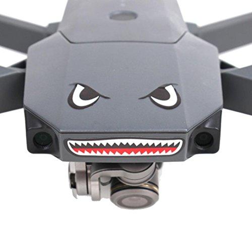 2PCS Skin Sticker, Leewa Waterproof Plastic Shark Decoration Decal Skin Sticker for DJI Mavic Pro RC Drone -- (15x9CM) (1PCS Black+1PCS Blue)