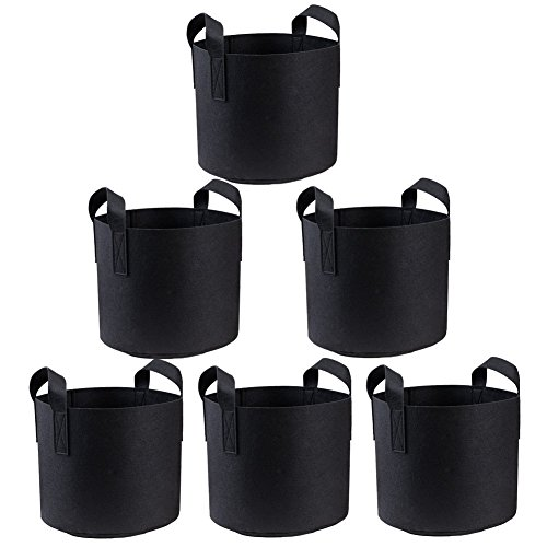 ORYOUGO 3 Gallon Premium Grow Bags /Aeration Fabric Pots, Aeration Fabric Smart Pots Ideal for Plants Growing, Portable Plants Fabric Container - Perfect for Nursery Garden(6 Pack) by ORYOUGO