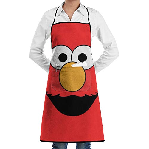 Sesame Street Elmo Face Adjustable Personalized Apron with Pockets,Men & Women Cute Apron Bib Apron for Cooking Baking Gardening,Black