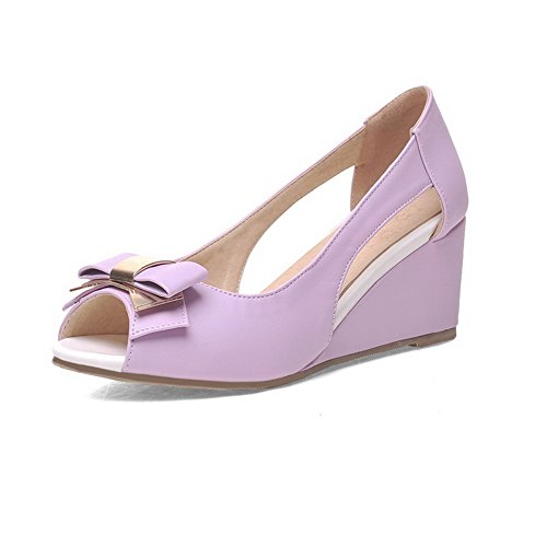 AllhqFashion Women's PU Solid Pull-on Peep Toe Kitten-Heels Wedges-Sandals Purple jtcEa2