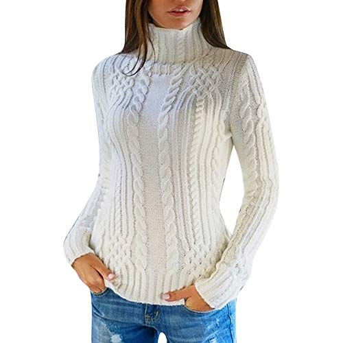 NREALY Sweaters Women's Long Sleeve High Collar Pullover Sweater Knitted Jumper Tops Blouse(M, White)