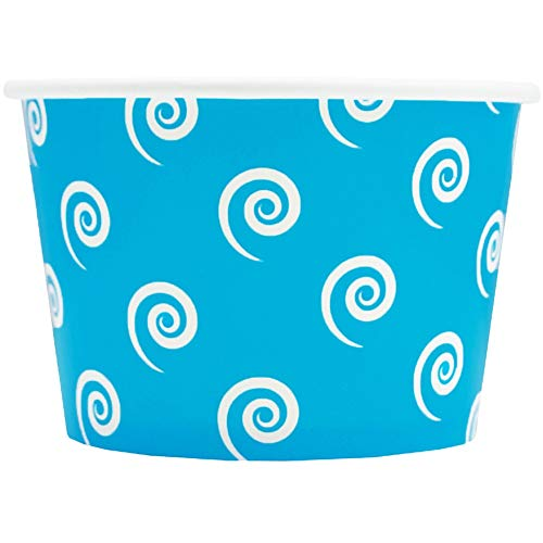 Blue Paper Ice Cream Cups - 8 oz Swirls And Twirls Dessert Bowls Perfect For Yummy Treats - Many Sizes to Make Your Party Amazing! Fast Shipping! Frozen Dessert Supplies - 100 Count