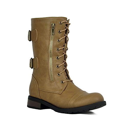 Women's Winter Combat Booties Ankle to Mid Calf Lug Sole Stacked Heel Military Motorcycle Boots Taupe-20