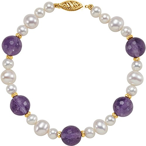 (14k Yellow Gold Freshwater Cultured Pearl & Amethyst 7.5