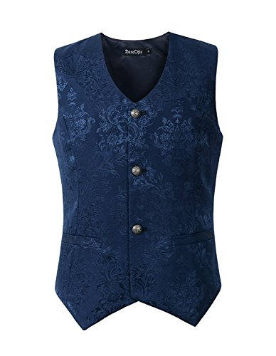 DarcChic Mens Vest Waistcoat Gothic Steampunk Victorian (3XL, Blue Brocade)