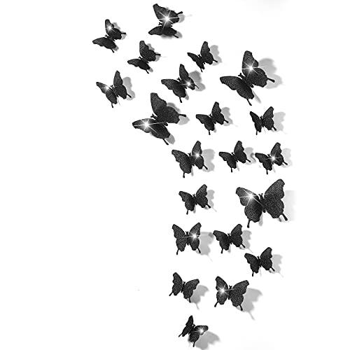 Espejos mariposas 3D 48 unidades negras con glitter