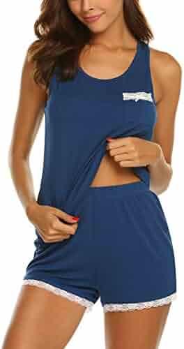 8790e576bac MAXMODA Women s Sweetness Lace Racerback Tank Top Shorts PJ Camisole Set  Sleepwear with Pocket