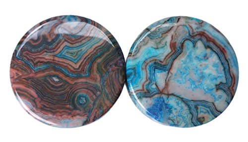 PAIR 8G-38mm Blue Agate Stone Plugs Tunnels Gauges Double Flare Organic Brown White (3/4