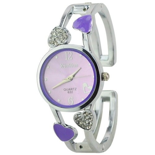 ELEOPTION Fashion Classic Women Quartz Stainless Steel Analog Wrist Watch Bracelet For Girls Female With Elegant Women's Watch Box (Purple)