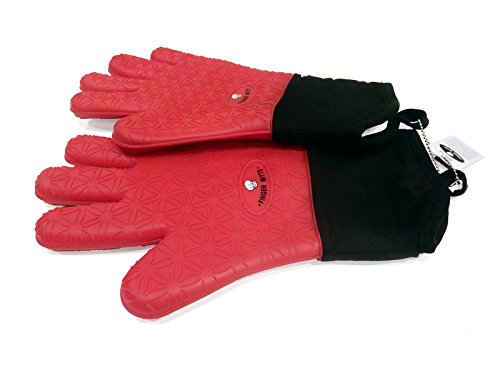 Silicone Oven Mitts - Professional Heat Resistant Cooking Gloves | Best BBQ Gloves / Pot Holder for Cooking in the Kitchen or Grilling Outdoors - Set of 2 (Red)