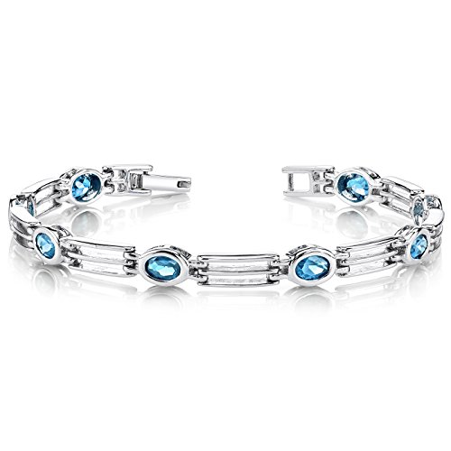 (London Blue Topaz Bracelet Sterling Silver Bezel Set 3.75 Carats)