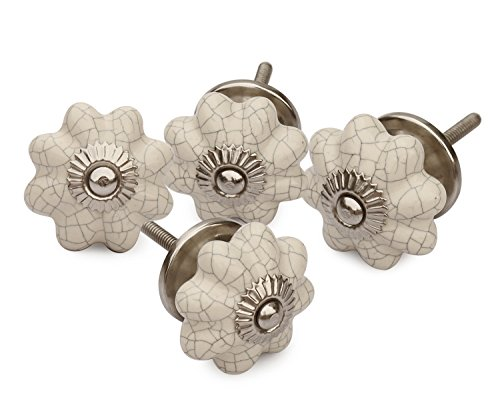 Set of 4 Ceramic White Pumpkin Decorative Antique Door Knobs- Interior Round Knobs and Pulls for Cabinet / Girls Dresser / Kids Cupboard / Kitchen Drawer Handles with Hardware Attached - Antique Cabinet Doors