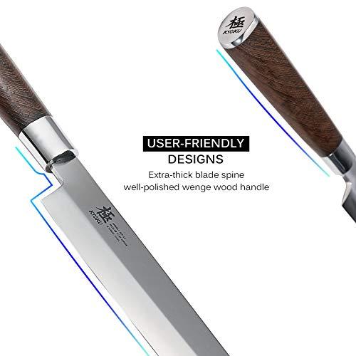 KYOKU Samurai Series - 10.5'' Yanagiba Knife Japanese Sushi Sashimi Knives - Superior Japanese Steel - Wenge Wood Handle - with Sheath & Case by KYOKU (Image #5)