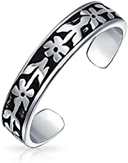 Flowers Vine Leaf Oxidized Midi Band Toe Ring For Women 925 Silver Sterling Adjustable
