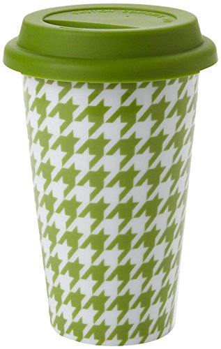 Yedi Houseware Classic Coffee and Tea 11-Ounce Houndstooth Mug, Green