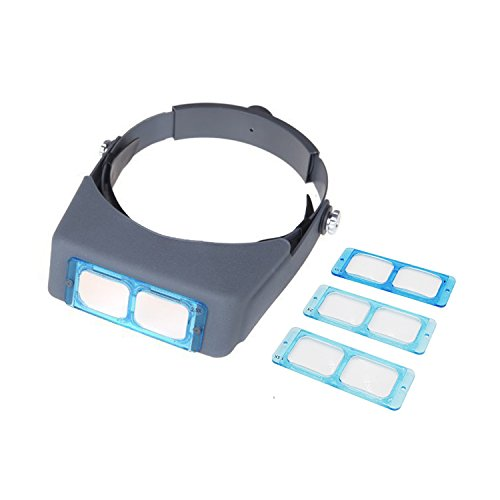 PHYHOO Double Lens Head-Mounted Headband Reading Magnifier Loupe Head Wearing 4 - Headband Loupe