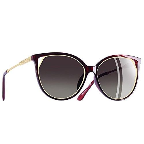 Templo de de Moda Strass Gafas Red TIANLIANG04 mujeres C5vino gato ojo sol C5Wine para polarizadas UV400 gafas rojo de Y8gOw8