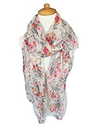 GERINLY Lightweight Summer Scarves: Pretty Floral Print Shawl Wrap For Women